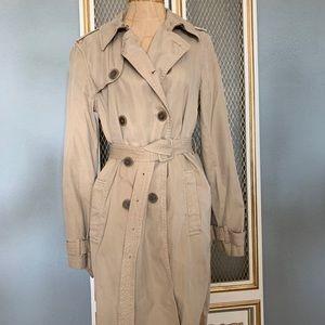 J.Crew Washed Cotton Trenched Coat Khaki Sz6 E8023